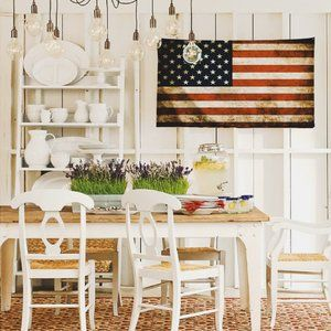 Vintage Look American Flag Fabric Wall Tapestry